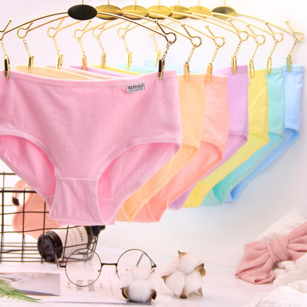 Panties A001 Full Cotton Pure Cotton Candy Concise Women's Solid Color Woman string tanga underpants