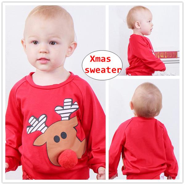 Xmas Baby Red reindeer Maglioni Infant Girls magliette a maniche lunghe per bambini Autunno inverno pullover di stoffa per 0-4T