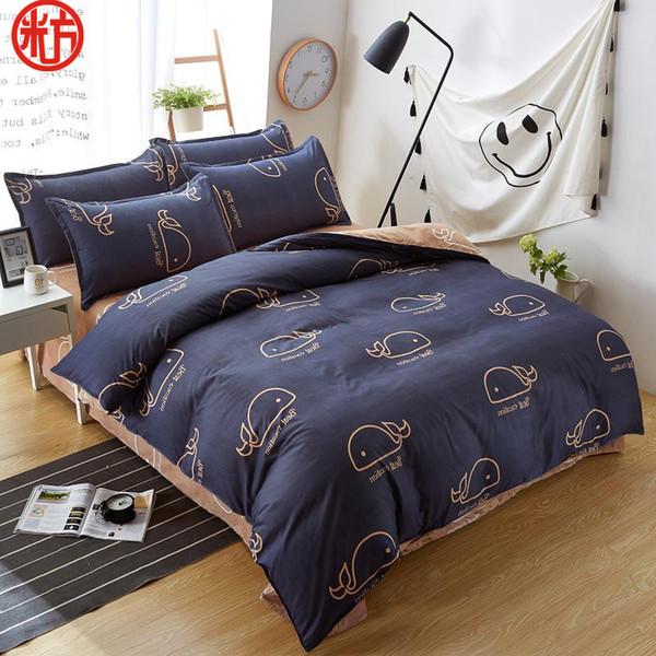 2018 new sheet, pillwocase& duvet cover set WHALE bedding set pinetree bed black white bed linen wholesale home bedding