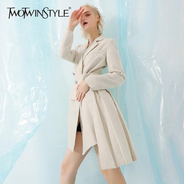 TWOTWINSTYLE Moda Trench Coat Feminino de Manga Longa Blusão Mulheres com Cintos Plissados Assimétricos 2018 Outono Novo Tamanho Grande