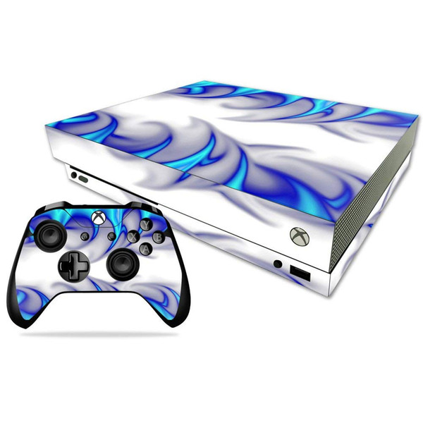 Blue and White Vinyl Skin Sticker for Xbox one X Console and 2 Controller Gaming Decal