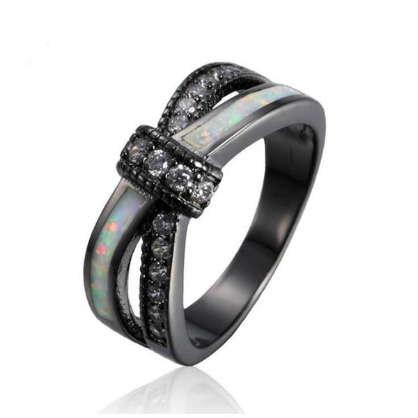 Сью Фил старинные партии женщин кольцо опал CZ мода черное золото цвет обручальные кольца для женщин / мужчин галстук-бабочка ювелирные изделия