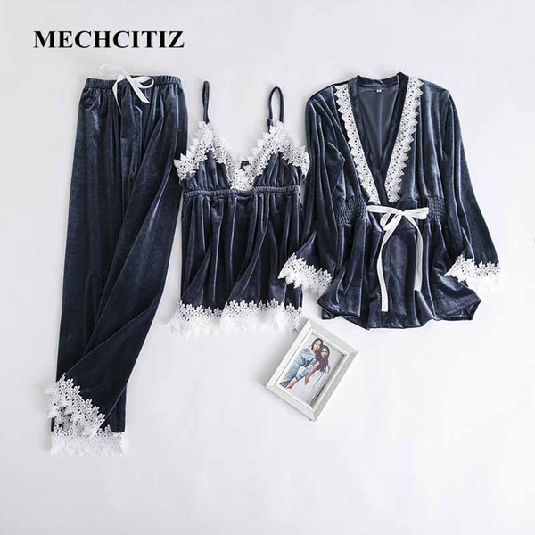 MECHCITIZ velvet pajamas sets for women winter sleepwear coat top pants 3 pieces pajamas set fashion home clothes plus size