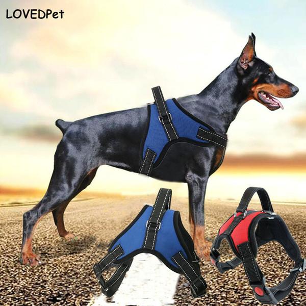 Nylon Reflective Medium large husky french bulldog dog collar harness vest training pet chain breast-band belt lead leash
