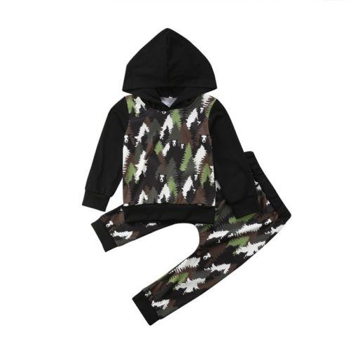 Baby Boy Girl Forest Panda Print Hooded Tops Sweatshirt Pants Outfits Clothes