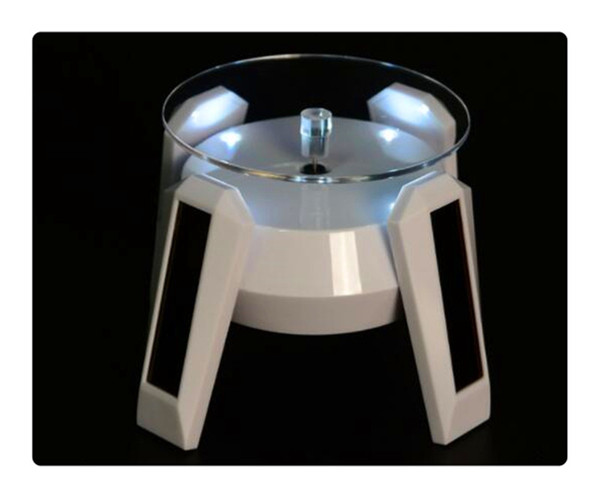 Solar Powered Phone/Tablet PC/ Jewlery Display Stand Necklaces Rings Earrings Bracelets Rotating Display Stand Turn Table with LED Light