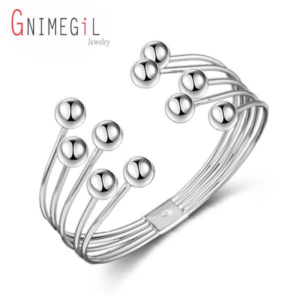 GNIMEGIL En Gros de Haute Qualité Plaqué Argent Cinq Perles En Fil Bracelet Pour Les Femmes À La Mode Partie De Noël Amitié Bijoux Bracelet