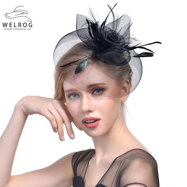 WELROG Womens Fascinator Hat Feather Gauze Mesh Net Hair Clip Headwear for Party Wedding Lady Mini Female Vintage Fedora Hats