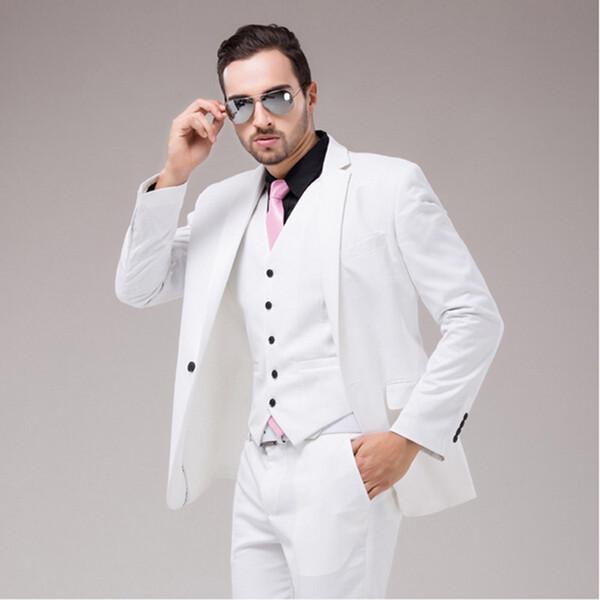Italian Luxury Mens Optic White Suit Jacket Pants Formal Dress Men Suit mens wedding suits groom tuxedos(jacket+pants+vest+tie)