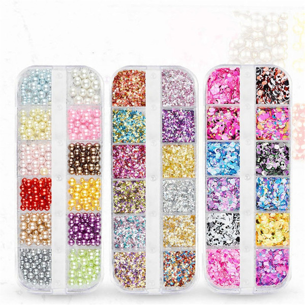 Nail Jewelry Flash Sequins 12 Lattice Box Jewelry Imports Symphony Sequins Pearl Shells Round Sequins Set Nail Laser Flash Powder 0603129