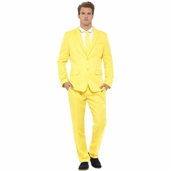 2017 Custom Made Groomsmen Suit Two Buttons (Jacket+Pants) Casual Style Groom Tuxedos Yellow Slim Fit Men Suits For Prom Wedding
