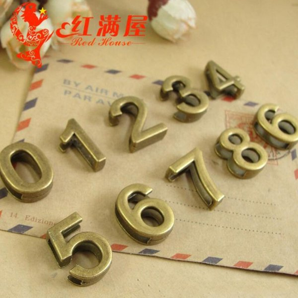 A3173 19*14MM Retro antique bronze perforated digital slide numeral charms lot, DIY sliding accessories wholesale number beads jewelry