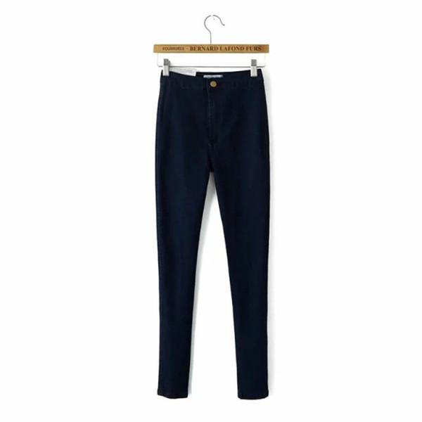 2018 Nouvelle Arrivée Femmes Vêtements Pour Automne Jeans Taille Haute Slip Bouton Élastique Femelle Denim Slim Crayon Pantalon