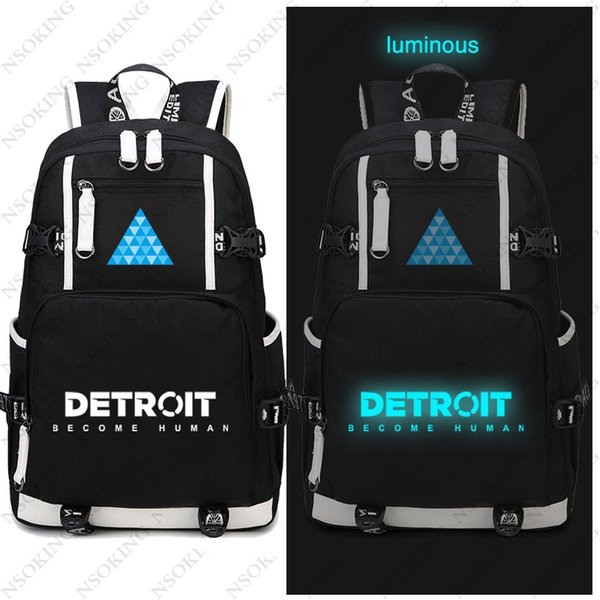 Hot Game Detroit: Become Human Backpack Cosplay Canvas Bag Luminous Schoolbag Travel Bags