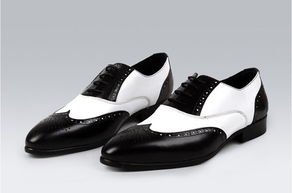 mens black white leather oxfords shoes in two colors elegant men wingtip dress shoes grooms wedding fashion business