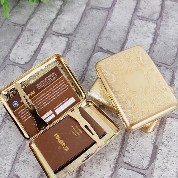 Ouro Do Vintage Padrão Masculino Puro Cobre 16 Caixa de Cigarro Regular Caixas de Fumaça Caixa de Armazenamento De Cigarros Caixa de Fumo Esculpida A Laser Fumar