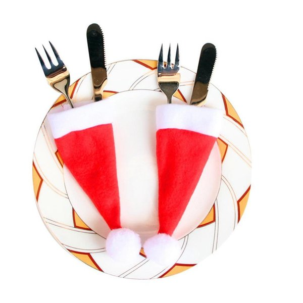 Christmas Hat Cap Tableware Cutlery Silverware Holder Pockets Spoon Dinner Case Box Decoration Fork 6.5x15cm