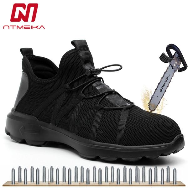 Mode Breathable Männer Sicherheitsschuhe Stahlkappe Ultraleicht Casual Arbeitsschuhe Verschleißfeste Arbeitsstiefel Männer Schwarz Sneaker