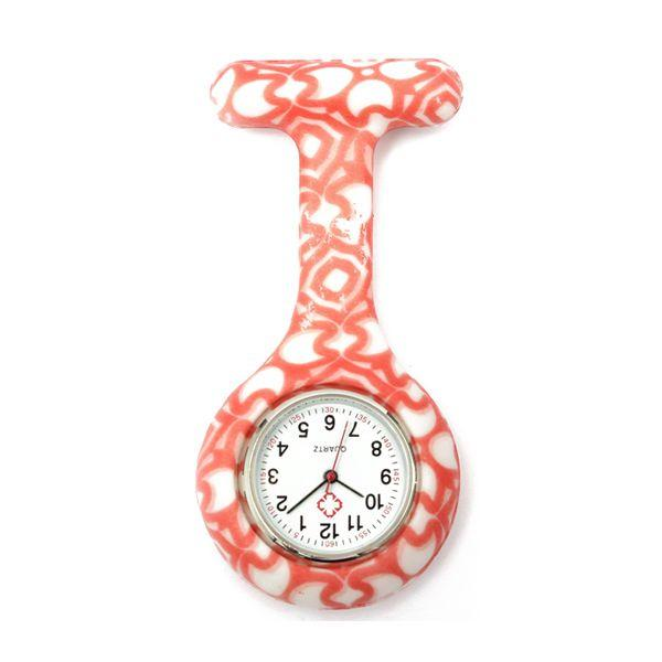 1PCS flower Pattern Silicone Nurses Brooch Tunic Fob Pocket Watch Stainless Dial,9color