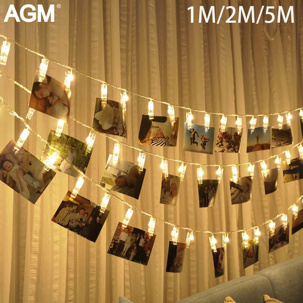 10 20 40 Led Garland Card Photo Clip Led String Fairy Lights Battery Operated Christmas Garlands Wedding Valentines Decoration Blue String Lights