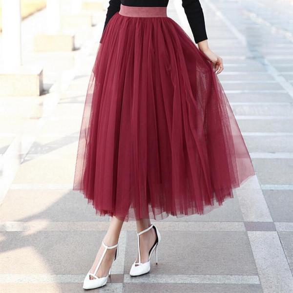 2017 Maxi Skirts Womens Spring And Summer New Big Swing High Waist Tutu Long Tulle Skirt