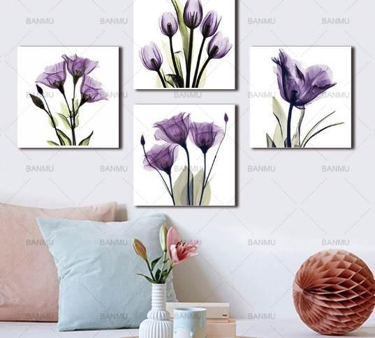 BANMU Wall Art Picture Холст для печати элегантный Тюльпан Фиолетовый Цветок Печать Холст Wall Art Painting Для Гостиной без рамки