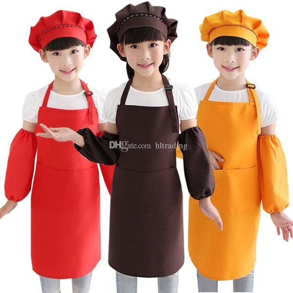 Aventais para crianças Artesanato de Cozinha Baking Art Pintura bebê Cozinha Jantar Bib 10 Cores avental + chapéu + oversleeve 3 pçs / set crianças Cozinha Suprimentos C5429