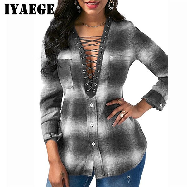 IYAEGE 2018 Womens Tops And Blouses Casual Plaid Shirt Long Sleeve Office Women Blouse Sexy Lace Up Tee Shirt Tunic Tops Blusas