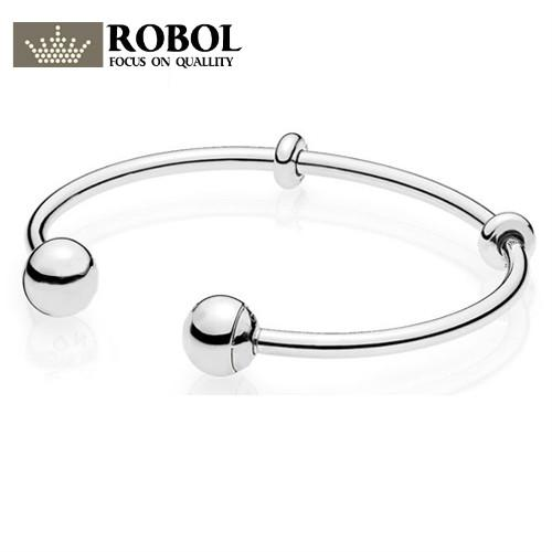ROBOL Authentic 925 Sterling Silver Opening Bangles Classic Basic Smooth Bracelet Bangle Fit DIY Women Bead Charm With Logo 8041