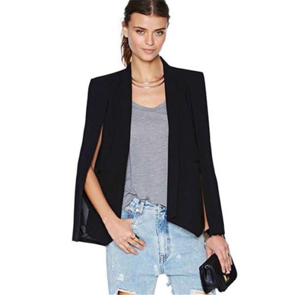 Autumn Women Lapel Split Long Sleeve Pockets jacket Casual Blazer Cape Suit Workwear