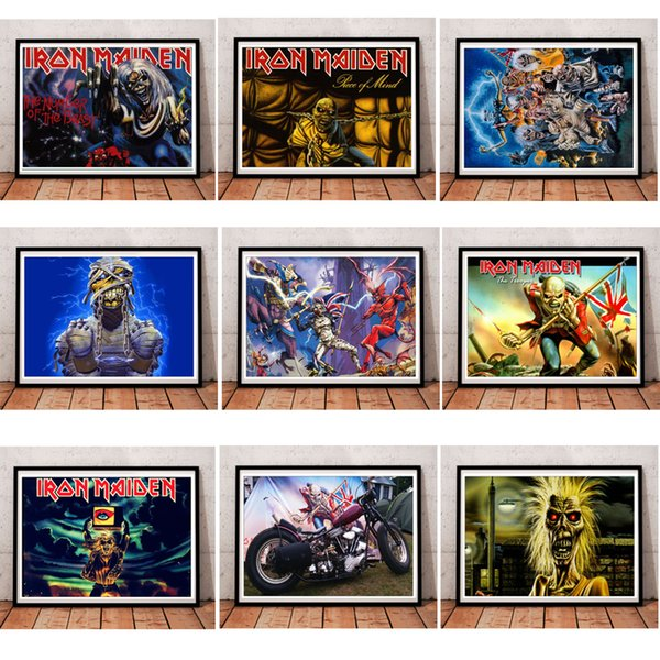Iron Maiden Coated paper Clear Image Painting Home Room Decor High Quailty printing Wallpaper Modern Decoration