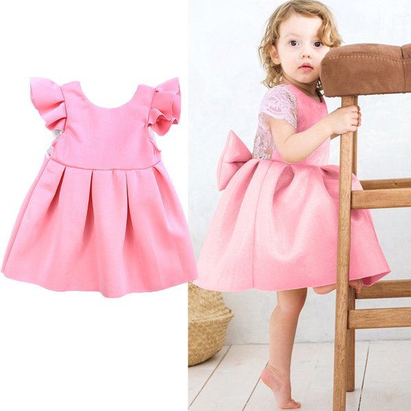 Pink blue color Baby lace butterfly backless princess skirt with big bow kids party prom dress infant toddler baby girl summer dress clothes