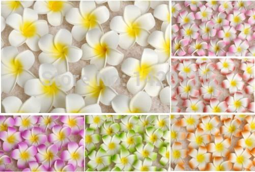 100pcs 7cm Wholesale Plumeria Hawaiian Foam Frangipani Flower For Wedding Party Hair Clip Flower Bouquet Decoration