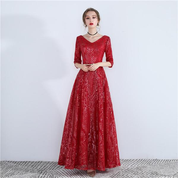 Compre Vestido Rojo Del Vestido De Noche Del Banquete Temperamento Auto Cultivo Atractiva Etiqueta De Acogida De Las Mujeres Orientales Vestidos De