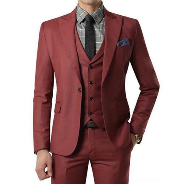 2018 Burgundy Suit Custom Made Wedding Suits Mens Tuxedos Grooms Shawl Black Lapel Prom Party Suit ( jacket+Pants+vest)