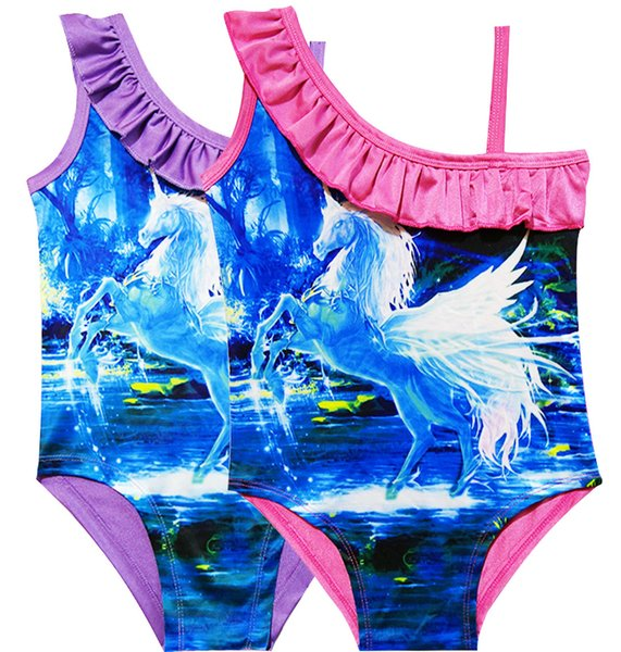 New Summer Unicorn Real Pattern Printed One Sholder Sling Swimsuit Baby Girl Clothes Beach Swim One-piece Swimwear Kids Clothing 2Colors