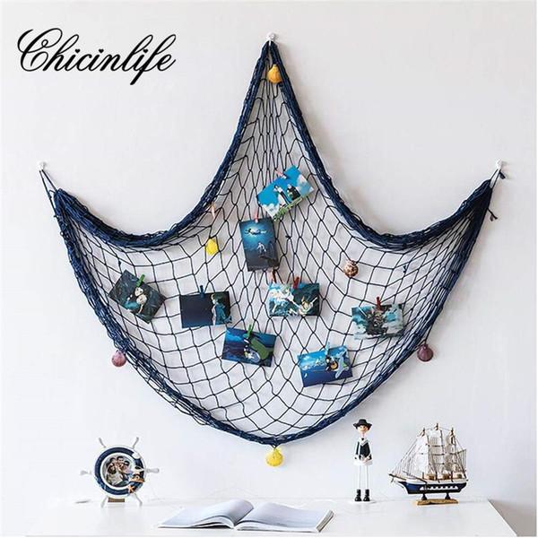 Venta al por mayor 1set Fishing Net Beach Tema Mediterráneo Decoración Fiesta Baby Shower Cumpleaños Boda Hogar Decoración de la pared