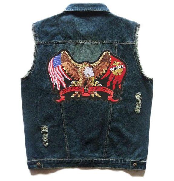 Motorrad Club Biker Fahrt Weste Marine Corps Eagle Flag Patch Denim Weste Herren Vintage Sleevess Niet Stickerei Slim Fit S-5XL