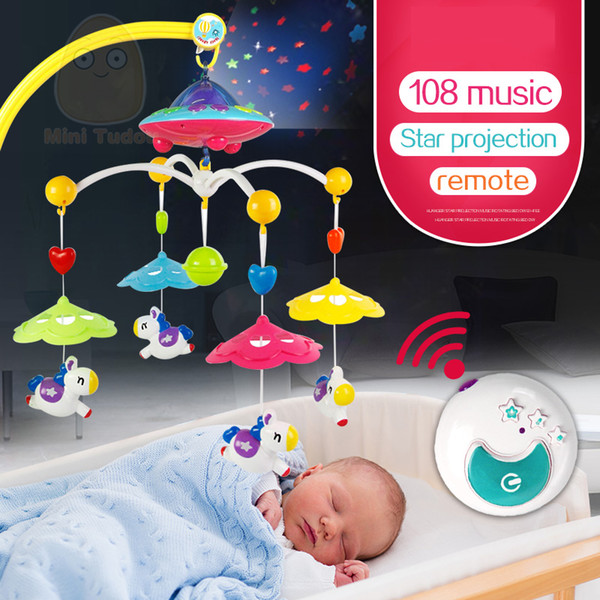 Baby Crib Toy 0-12 Months For Newborn Mobile Musical Box Bed Bell With Animal Rattles Early Learning Kids Educational Toys