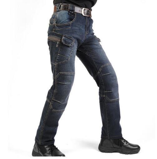 Nuovo IX7 SWAT Military Style Cargo Jeans Uomo Casual Biker Denim Biker Jeans Stretch Multi Tasche combattimento tattico Army Jean