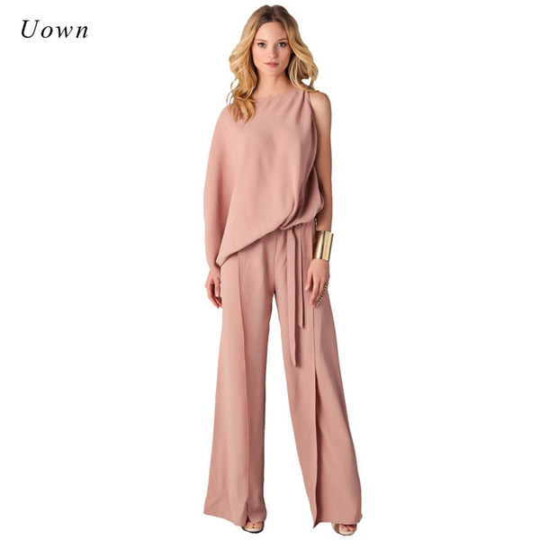 Long Pants Romper Wide Leg Jumpsuit for Women 2018 Autumn Fashion Long Sleeve Formal One Piece Ladies Elegant Jumpsuits Overalls