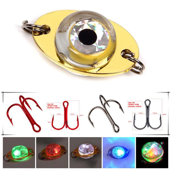 10pcs 3.8g LED Iron Lure + 10pcs 6# Black/Red Triple Anchor Hook Fishing Hooks Artificial Pesca Fishing Tackle Underwater Fishing Light Lamp