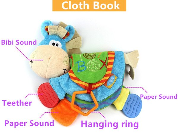 Vendita calda 22 cm Baby Cute Asino Toy Infant tranquillo libro giocattolo panno massaggiagengive Doll Early Development Books Learning Education regalo di BB