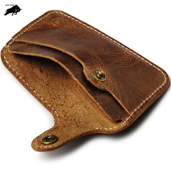 zyd-cool cow genuine leather card men and women wallet business card id holder bank cardholder pickup bus holder hasp cover