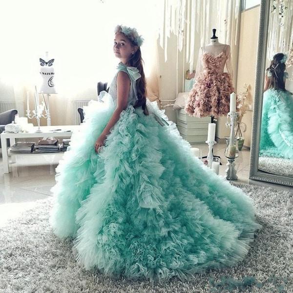 Mint Green Jewel Neck Flower Girl Dresses Kids Pageant Dresses for Girls Glitz Court Train Ruffles With Bow Kids Prom Dresses