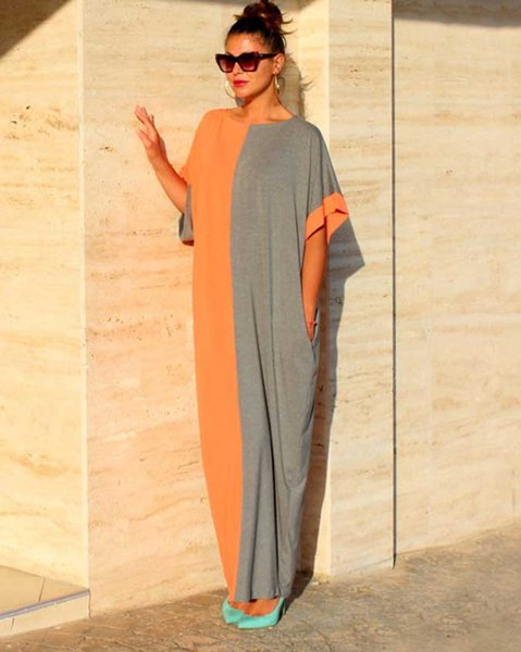 top popular Women Maxi Dress Pocket Patchwork Long Loose Ethnic 1 2 Sleeve Casual Elastic Plus Size M- 2XL Summer Fashion Clothes 2021