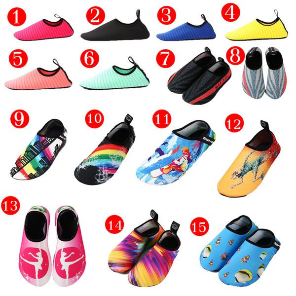 Calzado acuático 15 colores Zapatillas de malla para buceo Playa antideslizante Zapatillas para deportes acuáticos descalzos Calzado acuático Calcetines adultos Adultos Niños Natación Surf Yoga