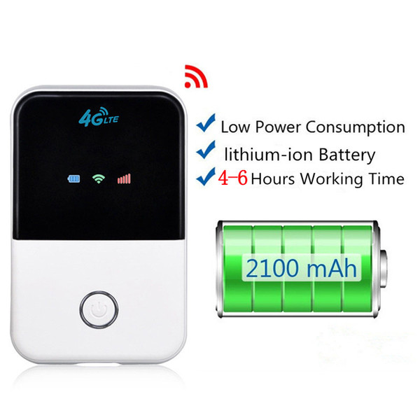 Portable LTE Wifi Router 3G 4G Wireless Router Mobile Wifi Hotspot With SIM Card Slot For Travel 2000mAH Battery