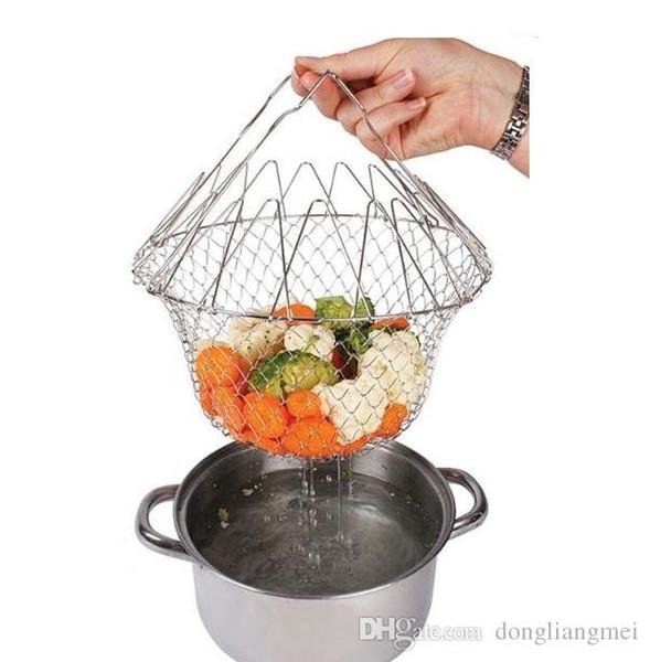 Colador multifuncional plegable del enjuague del vapor Colador del acero inoxidable Magic Mesh Basket Drainer Freír la herramienta de cocina francesa de la sartén wn579