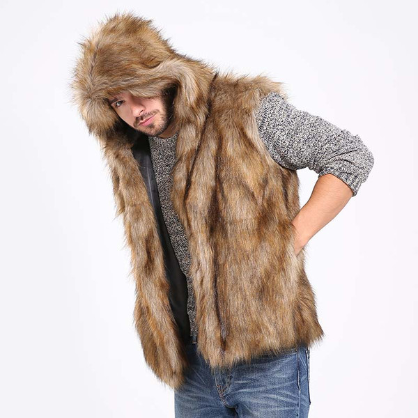 Winter Thicken Warm Men Hairy Faux Fur Vest Hoodie Hooded Waistcoats Sleeveless Pockets Coat Outerwear Jackets Plus 3X 6Q2041